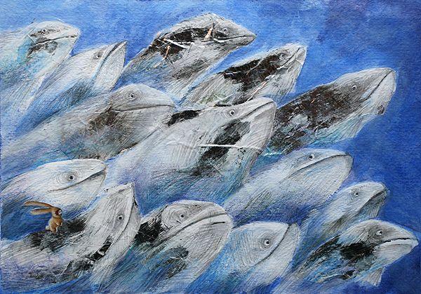 """""""SILVER FISHES"""" illustration by Sarah Khoury. From the book """"Ciacio e il mare"""" (Ciacio and the sea), 2011"""