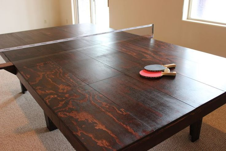 Rustic stained wood ping pong table