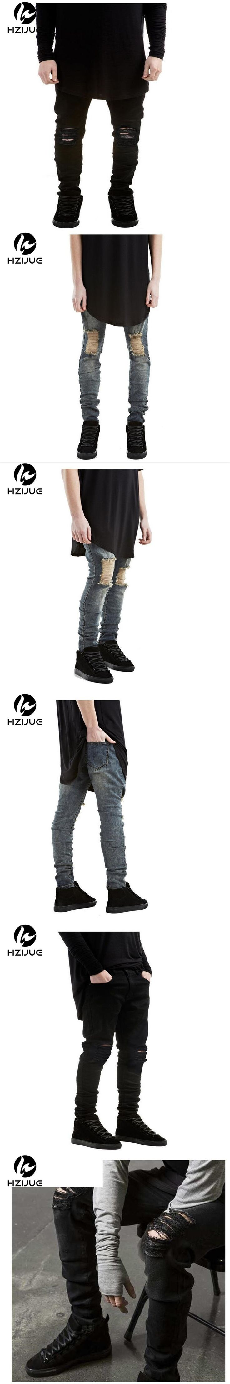 HZIJUE 2017 new arrival ripped causal pants male jeans Men Jeans Stretch Destroy Ripped Design Fashion Ankle Zipper Skinny Jeans