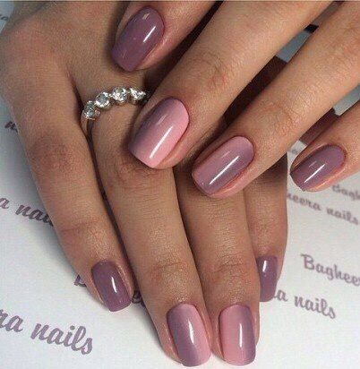 Beautiful delicate nails, Birthday nails, Gradient manicure for a short nails, Gradient nails 2016, Light spring nails, Nails shellac gradient, Spring gradient nails, Spring nails by gel polish