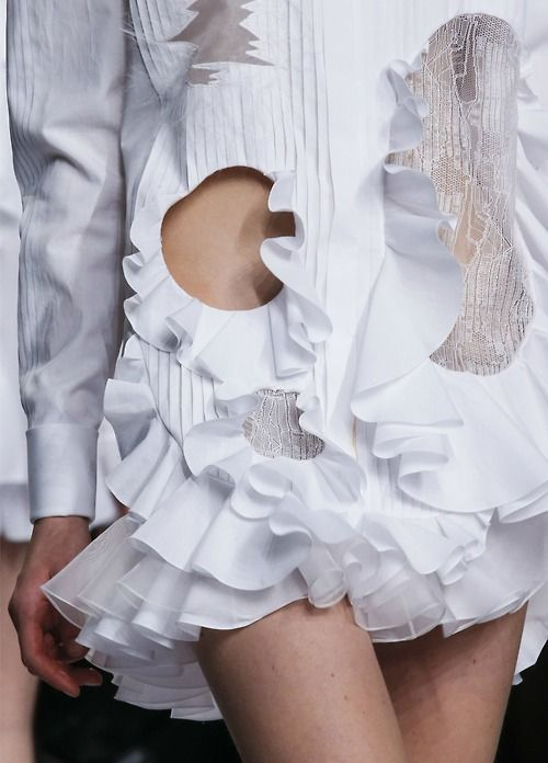 White Shirt with pleats, ruffles & cut out inserts; deconstructed fashion details // Viktor & Rolf