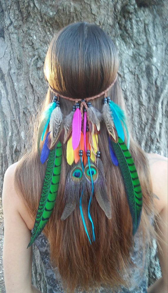 Bird of Paradise, Feather headband, native american, indian headband, bohemian headband, wedding, feather veil, rainbow