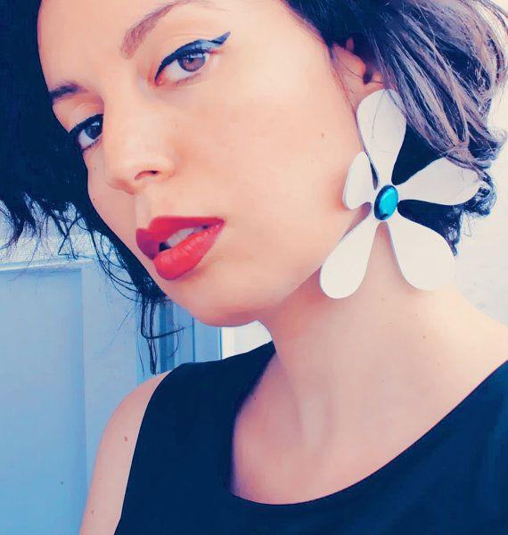 Single statement earring white flower earring by elfinadesign