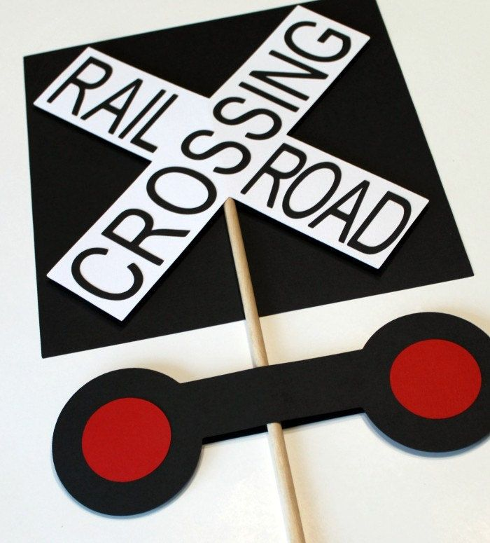 Train Birthday Party - Railroad Crossing Sign centerpieces