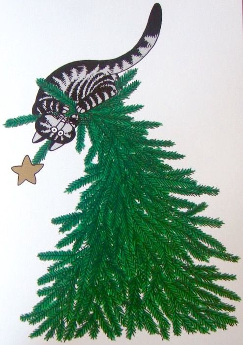 Christmas Cat by B. Kliban
