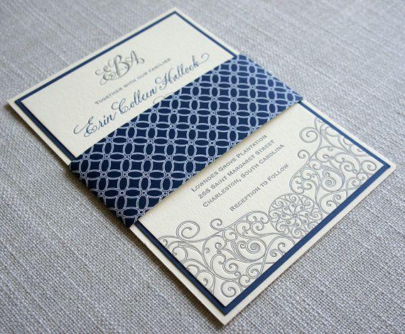 Charleston Sc Wedding Invitations: Letterpress Iron Gate Scrollwork Wedding Invitation