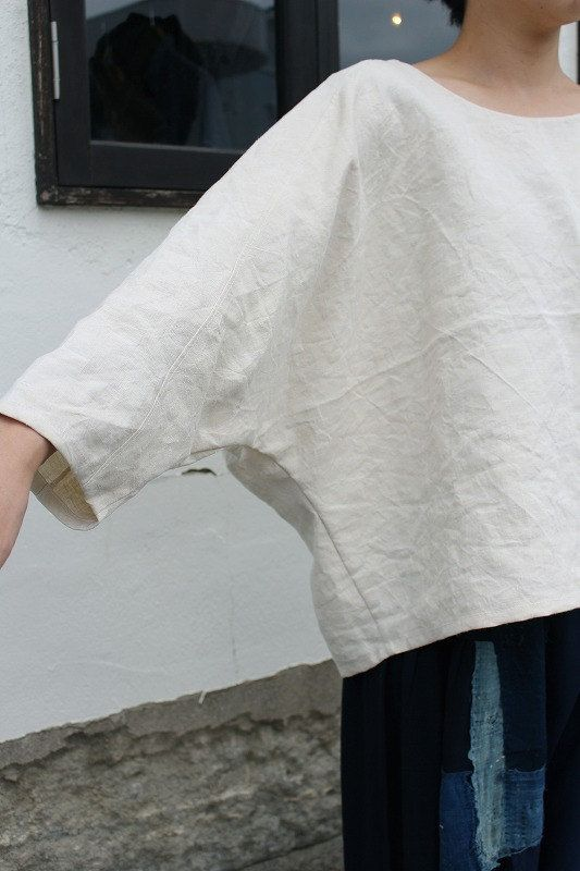 Antique linen dolman sleeve white blouse/French linen/antique fabric/sashiko/Japanese boro/handmade/remade/252