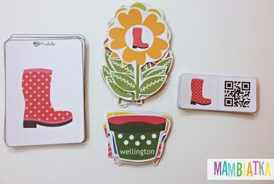 Spring flashcards, memory game and domino