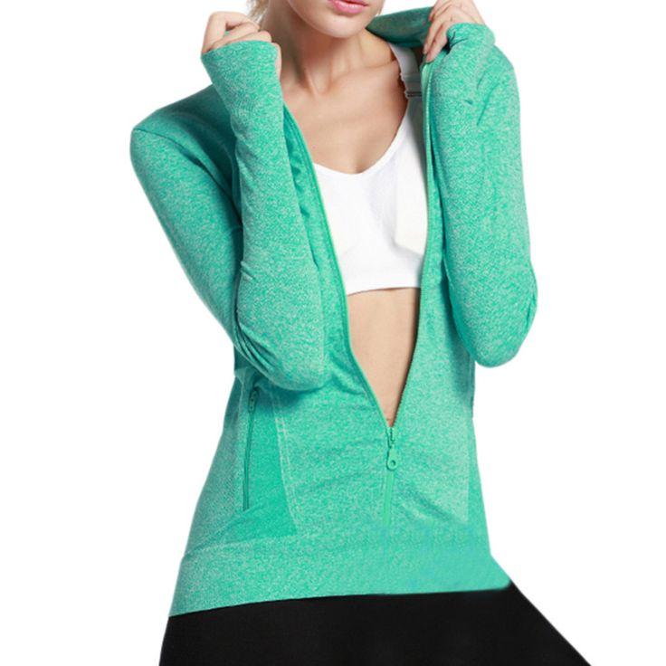 Summer long - sleeved zipper fitness running yoga jacket moisture  absorbing perspiration quick - drying sports jacket #Affiliate