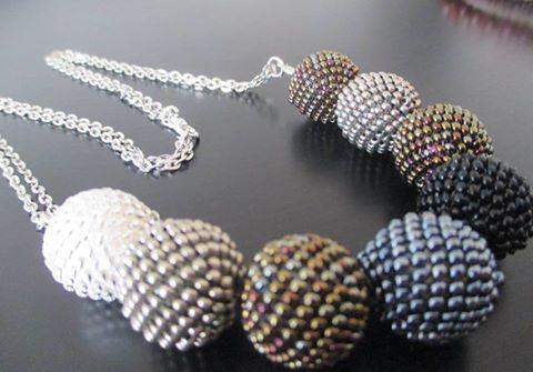 Bracelet with hand made beaded balls https://www.facebook.com/sperkymari/
