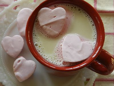 red hot marshmallows in white hot chocolateHot Chocolate