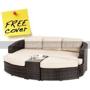 Jade Rattan Garden Daybed - Brown or Grey Rattan