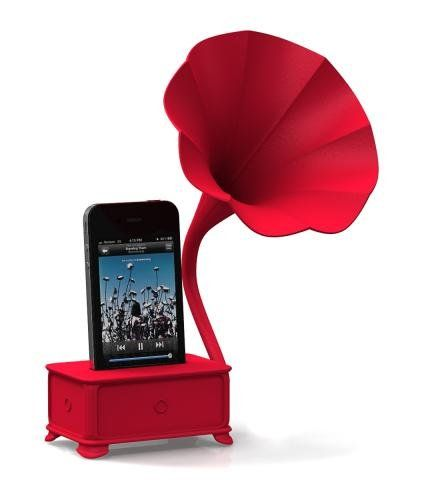 old school new schoolIdeas, Old Schools, Iphone Speakers, Red, Gadgets, Stuff, Ivictrola Gramophone, Things, Products