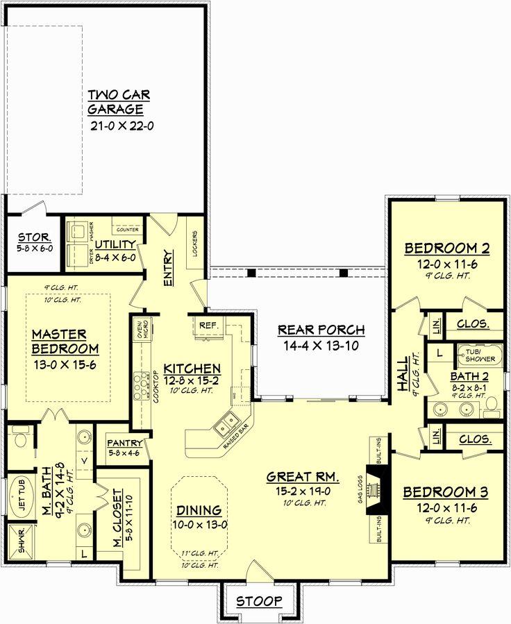 European Style House Plan 3 Beds 2 Baths 2493 Sq Ft Plan