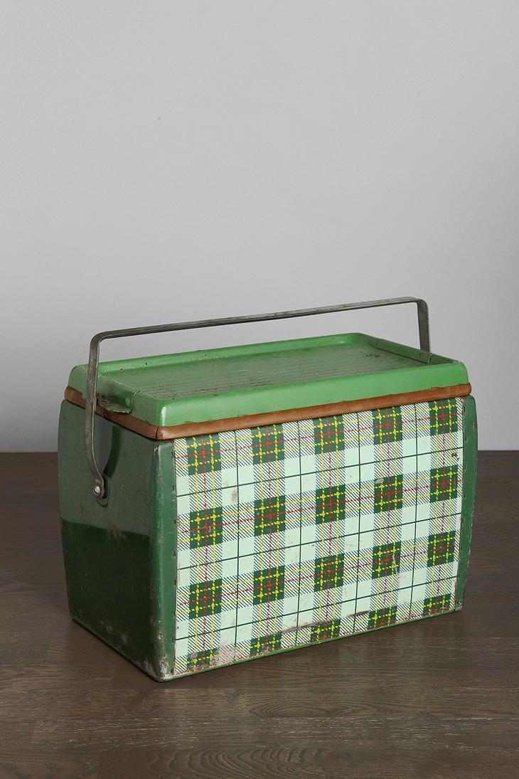 Vintage Plaid Metal Cooler