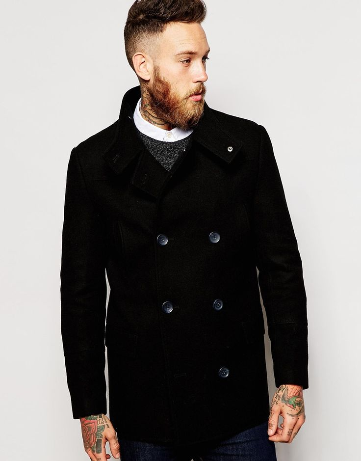 ASOS+Wool+Peacoat+With+Funnel+Neck+In+Black