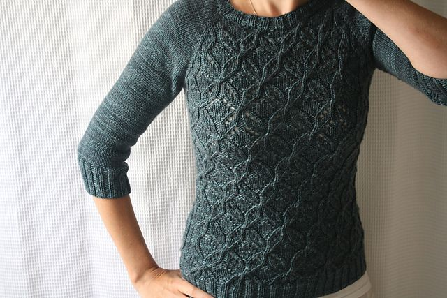 Dragonflies Jumper pattern by Joji Locatelli (knitting, sweater, pullover, crewneck, cables, lace, top-down, seamless) —— featured in Knit the Look: http://fringeassociation.com/2013/03/28/knit-the-look-mary-kate-steinmillers-lace-front-jumper/