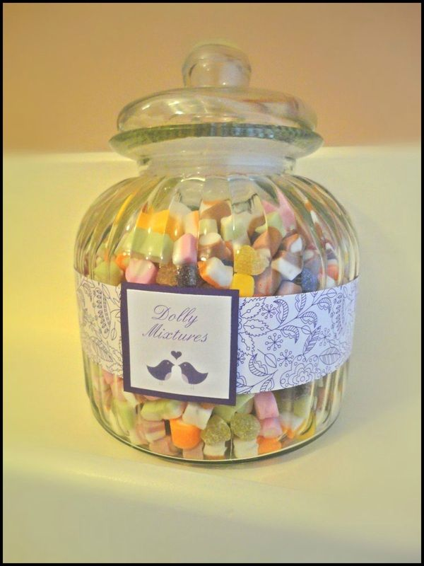 Dolly mixture sweets for a wedding