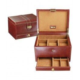 Cutie 3 ceasuri cu sertar, din piele - Dulwich Designs