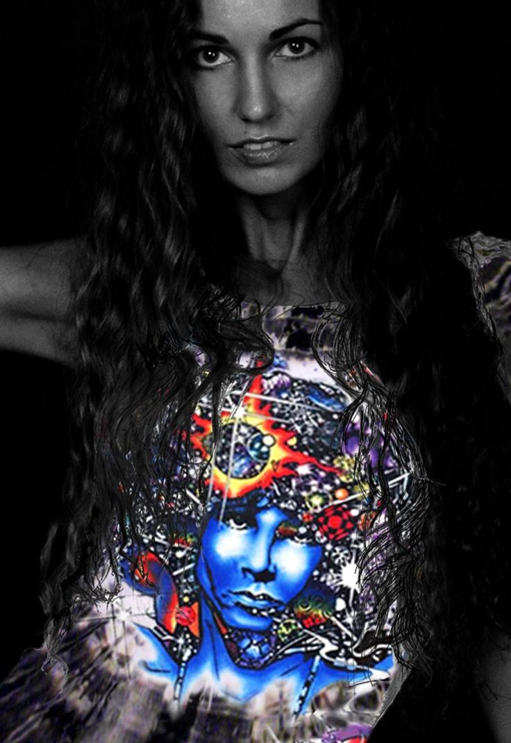 Door Ways - Women's black tie dye inspired by Jim Morrison t-shirt.