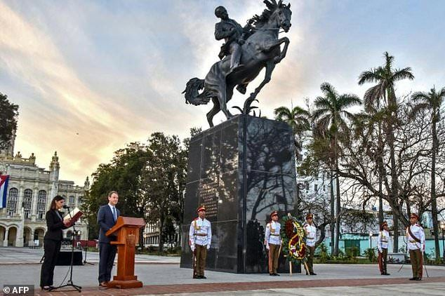 A replica of an equestrian statue of Cuban independence hero Jose Marti is unveiled in Havana, an initiative of the Bronx Museum of the Arts