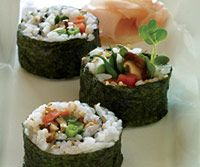 """Maki Garden Rolls"" If you don't have a sushi mat, wax paper or a clean kitchen towel works too."