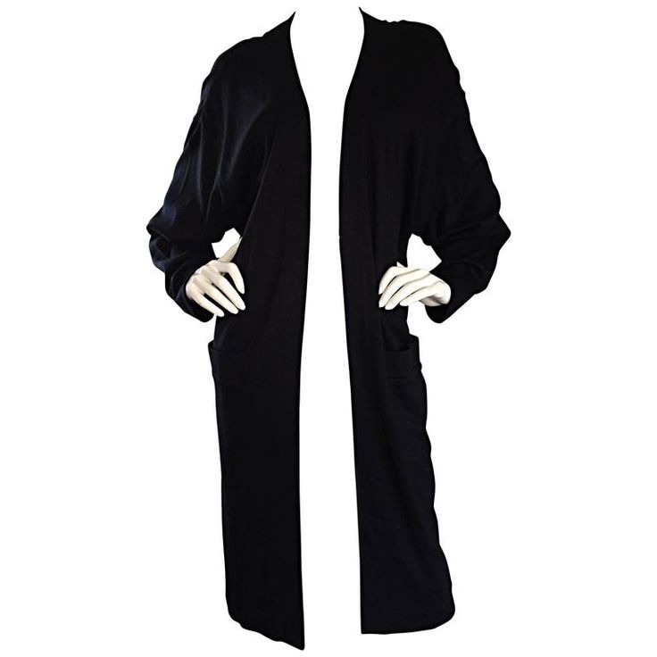 Donna Karan ' Black Label ' Vintage Long Black Cardigan w/ Dolman Sleeves  | From a collection of rare vintage sweaters at https://www.1stdibs.com/fashion/clothing/sweaters/