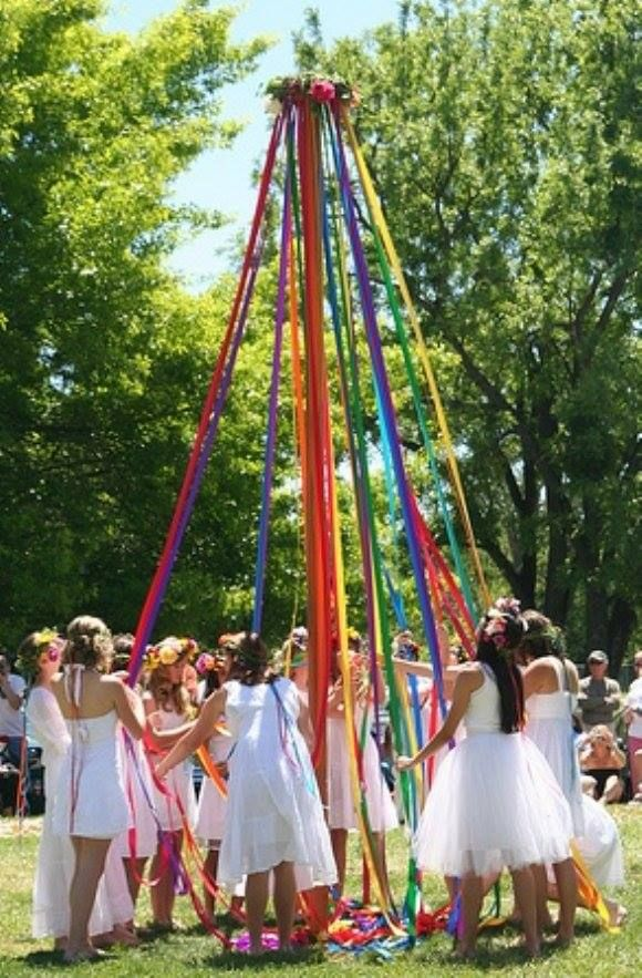 DIY: Making a Maypole for a Maypole Dance  Read more: http://www.care2.com/greenliving/diy-making-a-may-pole-for-a-may-pole-dance.html#ixzz3Y4e0WrSE  This is real easy Project can be adusted for size and space a Dowel with Colored Ribbon if your space is limited