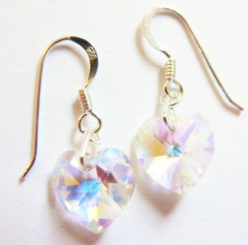Clear AB Swarovski Crystal Heart Earrings with free gift pouch and postage Order today before 1pm to be posted today for Valentine's day. (Matching pendant available in our shop.) Clutch and Clasp, http://www.amazon.co.uk/dp/B001J4CEJG/ref=cm_sw_r_pi_dp_XCK5sb1SGB7NQ £9.99