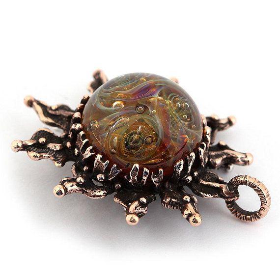 Celestial jewelry sun necklace bronze pendant with handmade