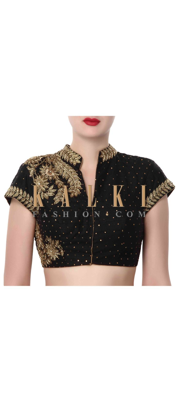Buy Online from the link below. We ship worldwide (Free Shipping over US$100). Product SKU - 320010. Product Price - $159.00. Product Link - http://www.kalkifashion.com/black-blouse-adorn-in-zardosi-embroidery-only-on-kalki.html