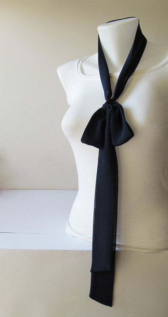 Navy Blue Skinny Scarf Long Thin Scarf with by NaryasSewingCorner