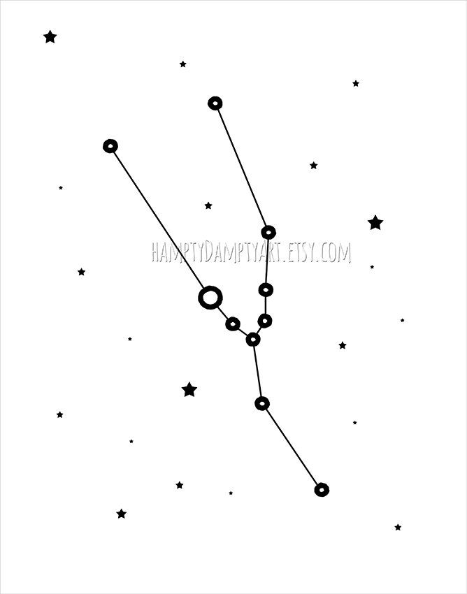 Taurus constellation print Taurus zodiac poster by HamptyDamptyArt