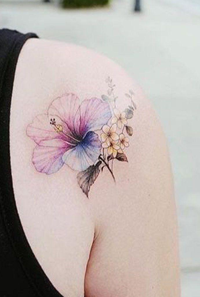 7da140992 Pretty Watercolor Delicate Blue Purple Shoulder Tattoo Ideas for Women -  Ideas florales delicadas del tatuaje del hombro de la flor para mujeres -  www.