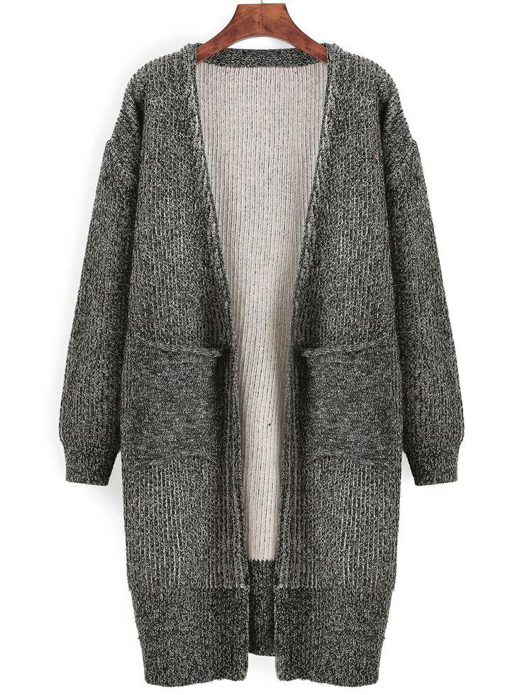 Grey Long Sleeve Pockets Loose Sweater Coat 21.99