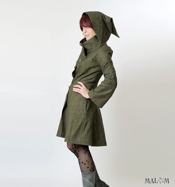 Steampunk Coat Womens green coat with Goblin Hood and by Malam, €350.00