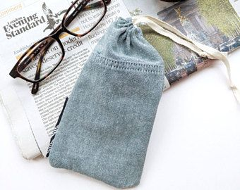 Pale Green Glasses Case, Draw string Glasses Case, Soft Case, Recycled Fabric, Silk Tie Trim, Eco Friendly Gift Ideas, Stocking Filler ∞