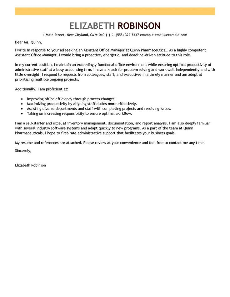 leading professional assistant manager cover letter examples and let know you need this example any other