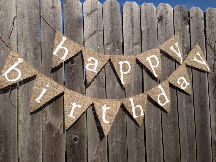 HAPPY BIRTHDAY BANNER, Birthday Decorations, Birthday Decor,  Birthday Party Decorations, Custom Birthday Banner, Burlap Banner by TwoChikkadees on Etsy https://www.etsy.com/listing/157681116/happy-birthday-banner-birthday