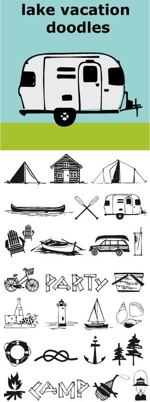 Lake Vacation Doodles for your camping, sailing, picnicking Summertime vacation needs. With these little graphics your party invitations just design themselves.