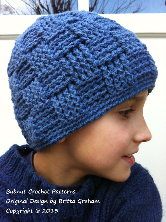 Boys+Crochet+Hat+Pattern+No.124+Basketweave+by+bubnutPatterns,+$4.00