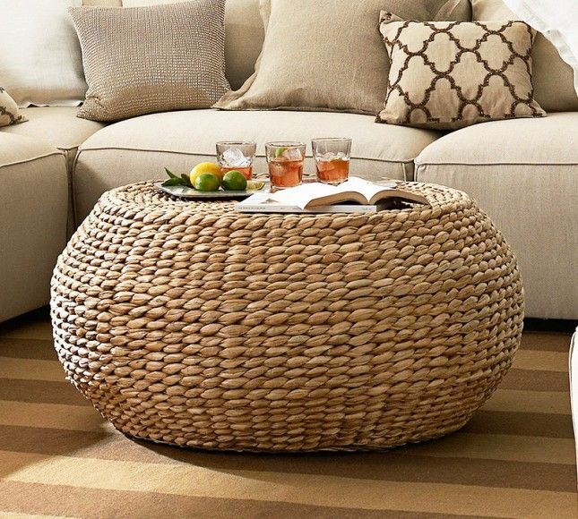 Round Woven Coffee Table We Love That This Is Shaped After One Of Our Furniture Faves The Pouf Hand Has An Easy