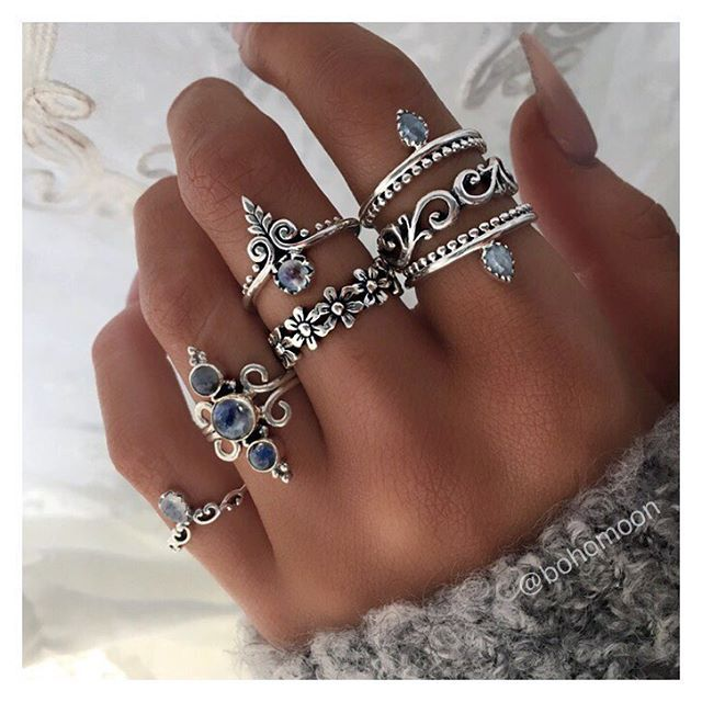 "2,196 Likes, 7 Comments - B O H O M O O N (@bohomoon) on Instagram: ""Sterling silver rings >> bohomoon.com"""