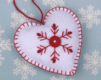 Felt Christmas Ornament,handmade Scandinavian Heart,Embroidered Snowflake decoration,red and white felt heart, Handmade felt heart ornament.