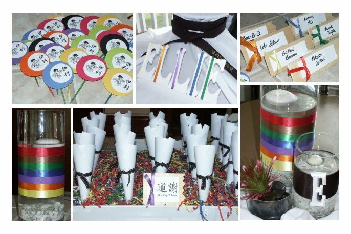 I like the black belt cones to put party favors or candy in ... also like the name tags with colored belts on them to put around the food ...