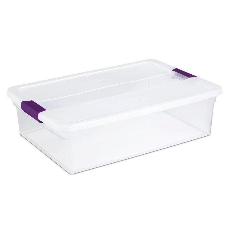 Sterilite Clearview Latch Underbed Storage Bin Clear With Purple Latch 60qt