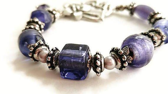 Glass Bracelet Purple Jewelry Boho Bracelet Rustic Jewelry