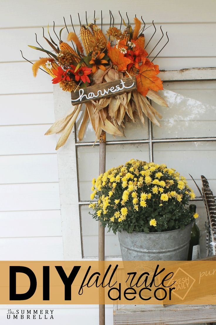 All you need to make this DIY fall rake decor is an old rake, some fall foliage and dried corn to create this beauty!