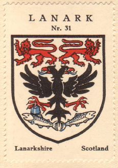 Coat of arms stamp of Lanark  featuring the double-headed eagle of the Aitchison Family.