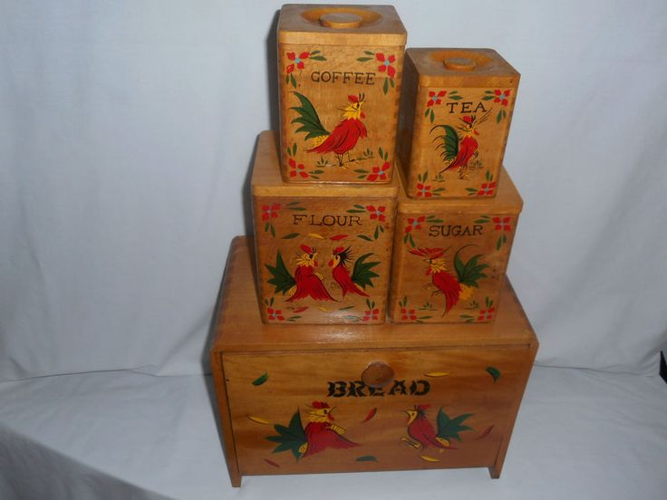 Wooden Rooster Bread Box Amp Matching Canisters Set Vg Pre
